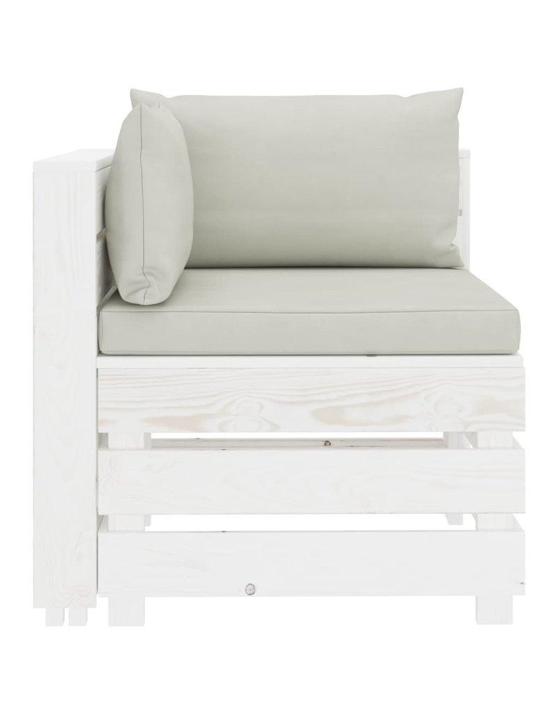 4-delige Loungeset met beige kussens pallet hout