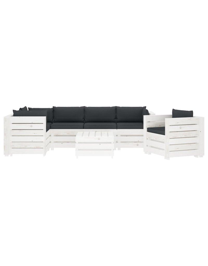 7-delige Loungeset met antracietkleurige kussens pallet hout