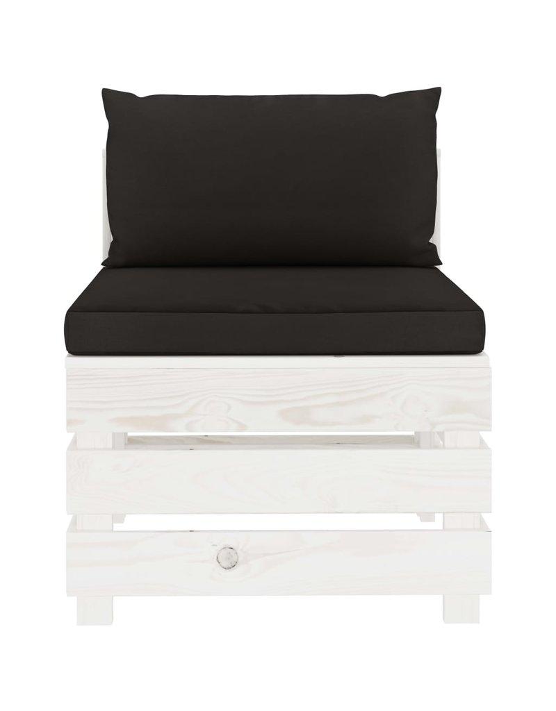 8-delige Loungeset met zwarte kussens pallet hout