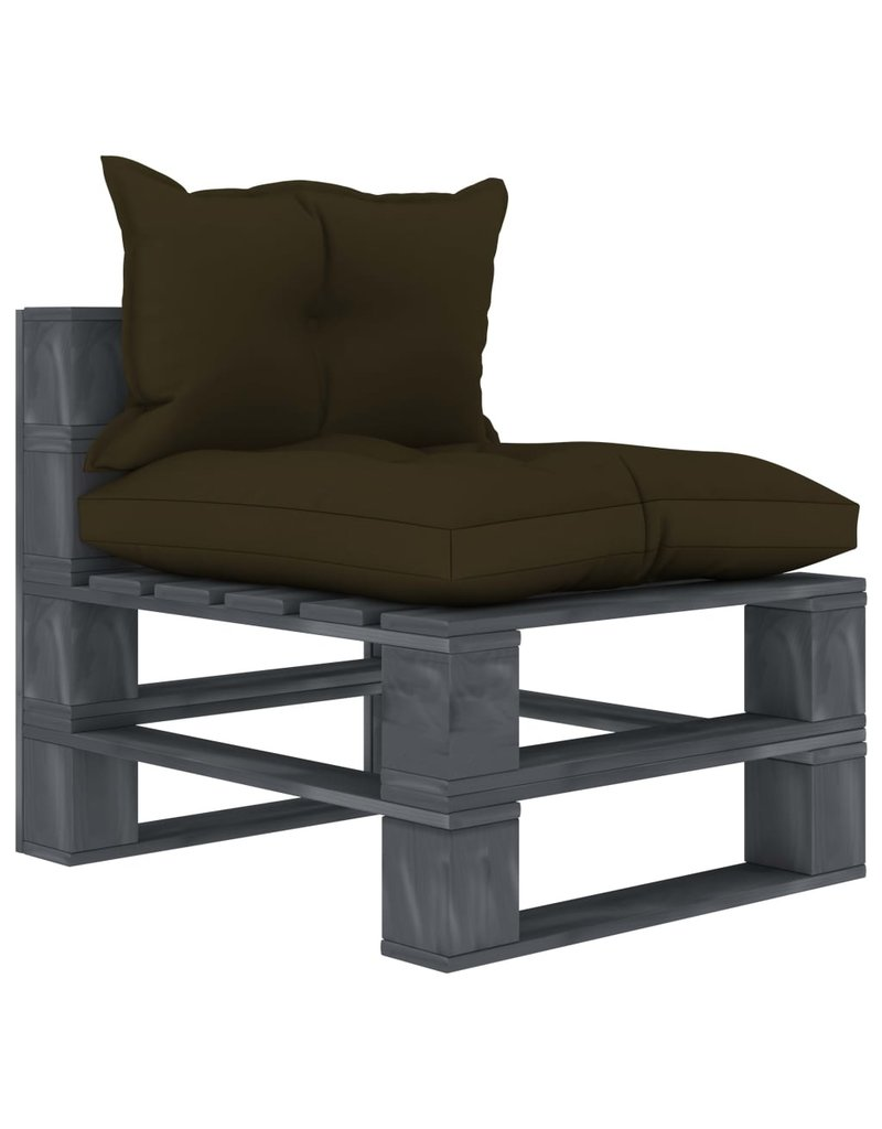 7-delige Loungeset met taupekleurige kussens pallet hout