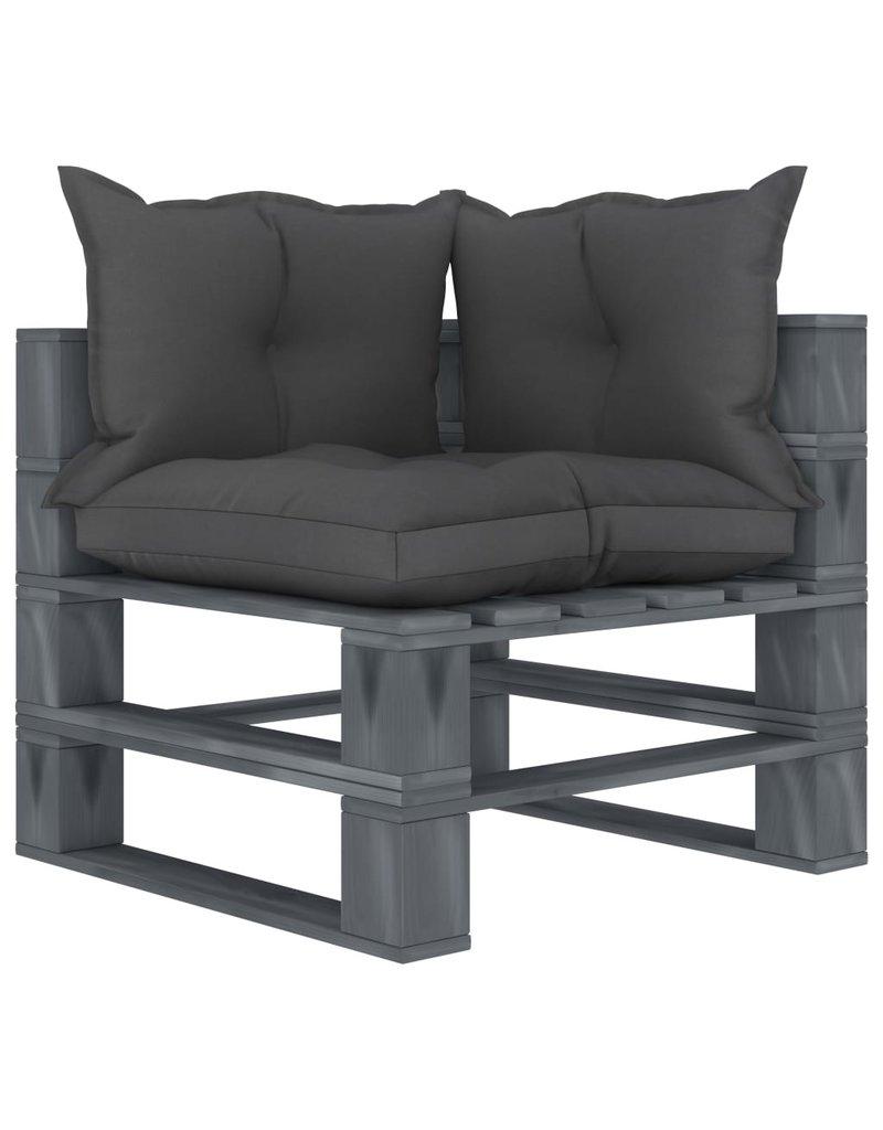 7-delige Loungeset met zwarte kussens pallet hout