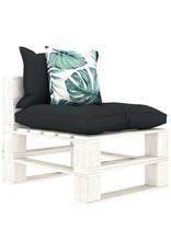7-delige Loungeset met antraciet en bloemenkussens pallet hout