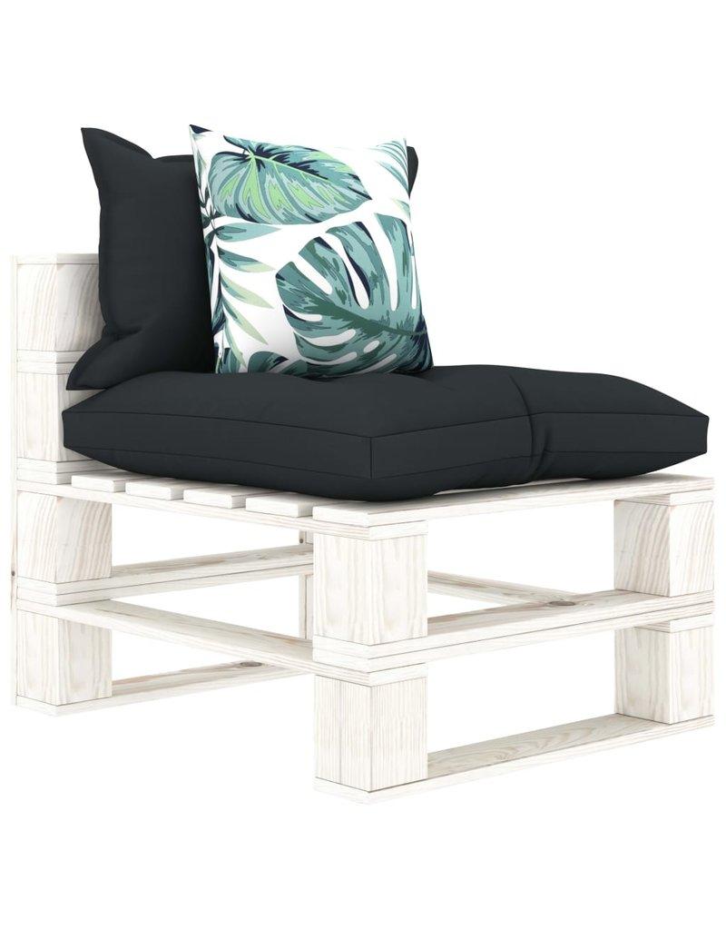 4-delige Loungeset met antraciet en bloemenkussens pallet hout