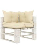 8-delige Loungeset met crèmekleurige kussens pallet hout