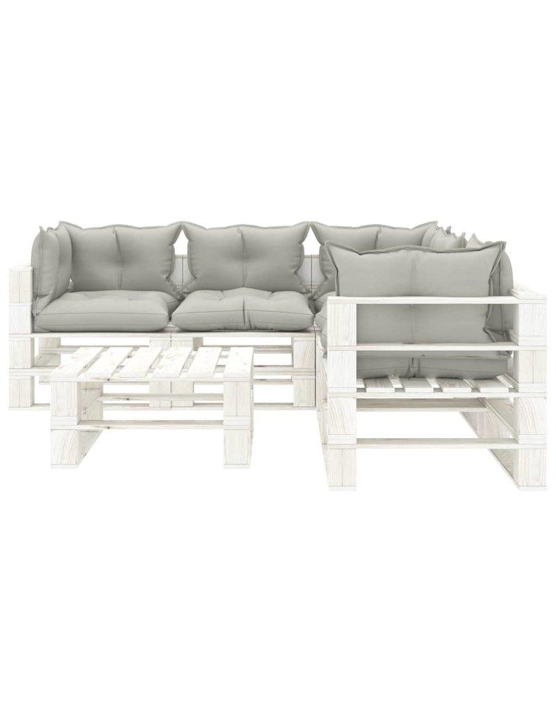 6-delige Loungeset met taupekleurige kussens pallet hout