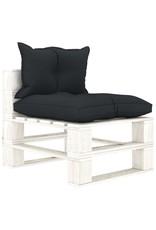 8-delige Loungeset met antracietkleurige kussens pallet hout