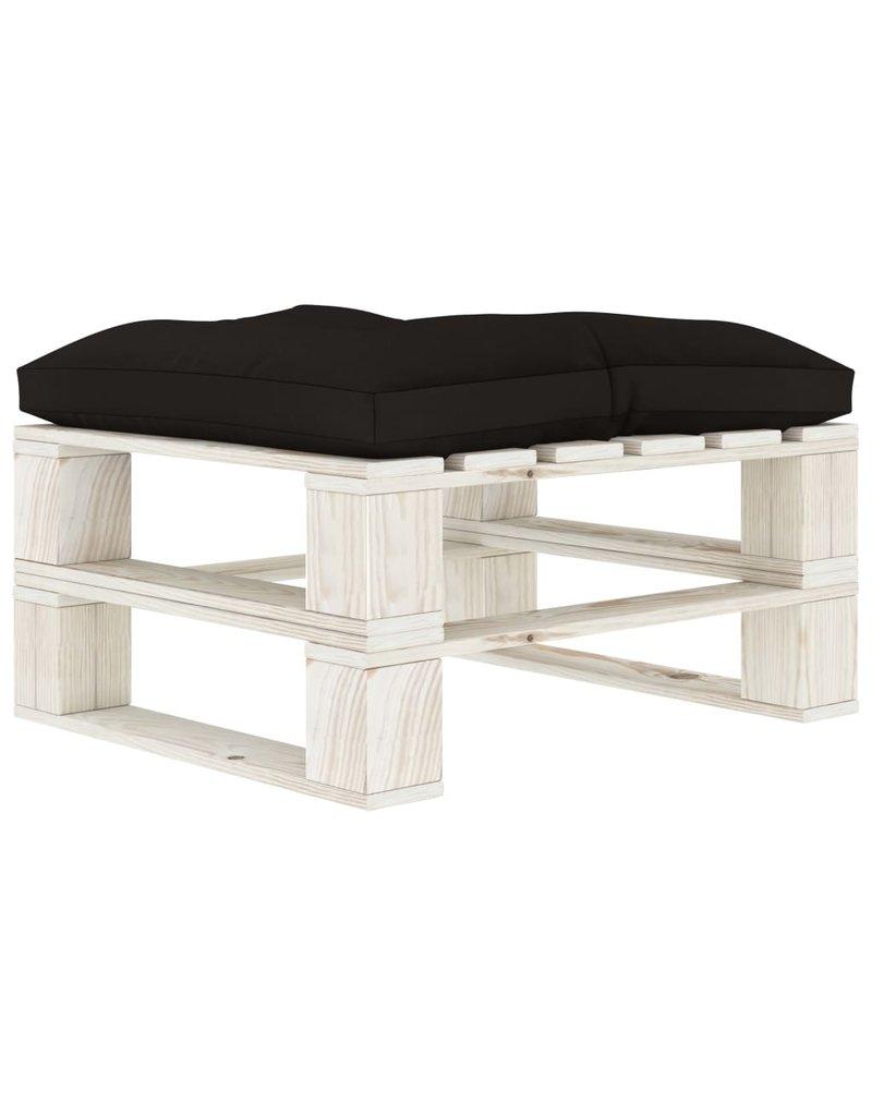 6-delige Loungeset met zwarte kussens pallet hout