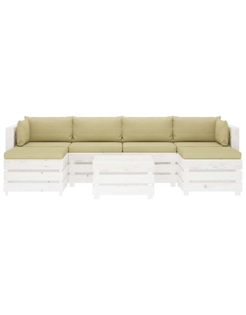 7-delige Loungeset met crèmekleurige kussens pallet hout