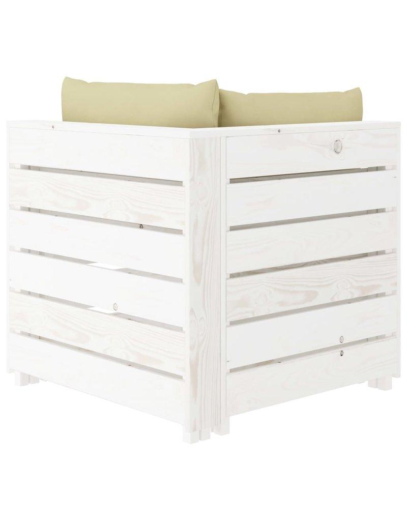 4-delige Loungeset met crèmekleurige kussens pallet hout