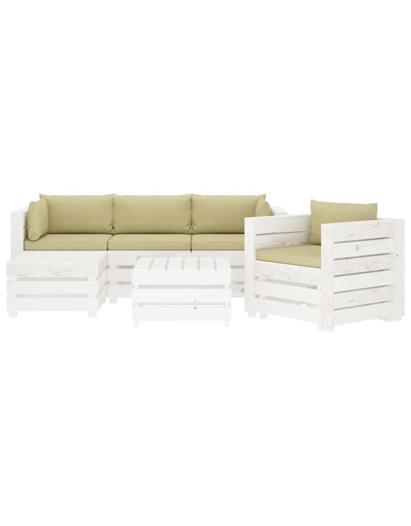6-delige Loungeset met crèmekleurige kussens pallet hout