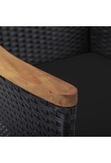 5-delige Tuinset poly rattan en acaciahout zwart