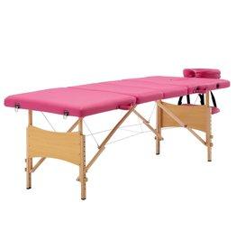 Massagetafel inklapbaar 4 zones hout roze