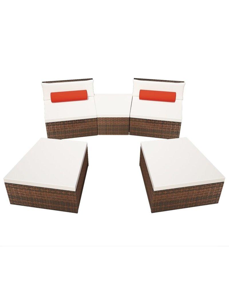 5-delige Loungeset met kussens poly rattan bruin