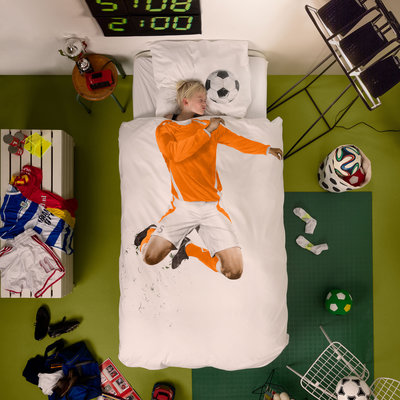 Snurk Soccer champ orange dekbedovertrek