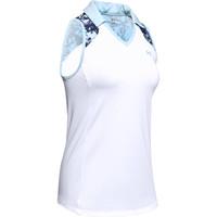 UA Zinger Sleeveless Blocked Polo-White / Blue Frost / Blue Frost