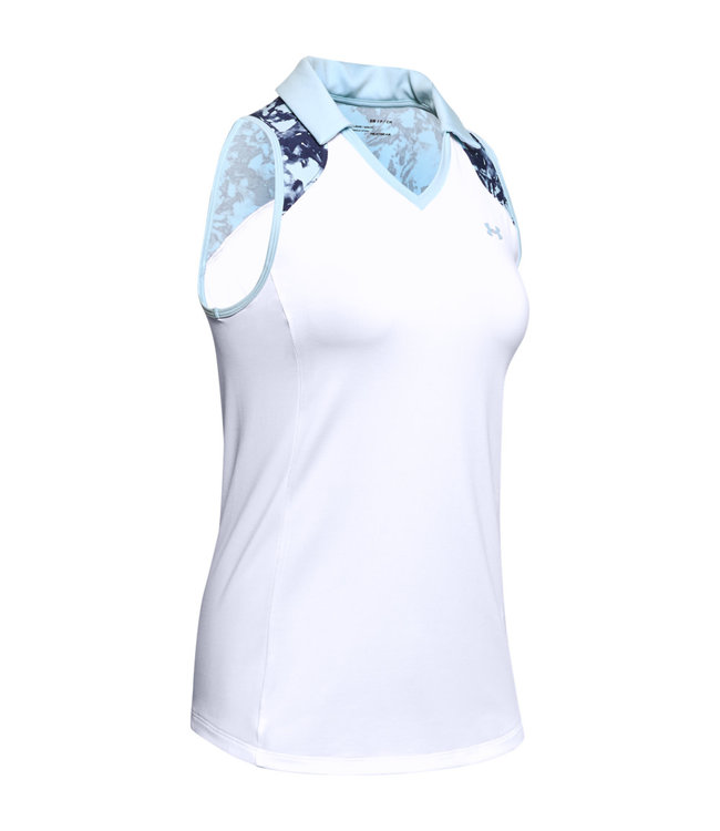Under Armour UA Zinger Sleeveless Blocked Polo-White / Blue Frost / Blue Frost