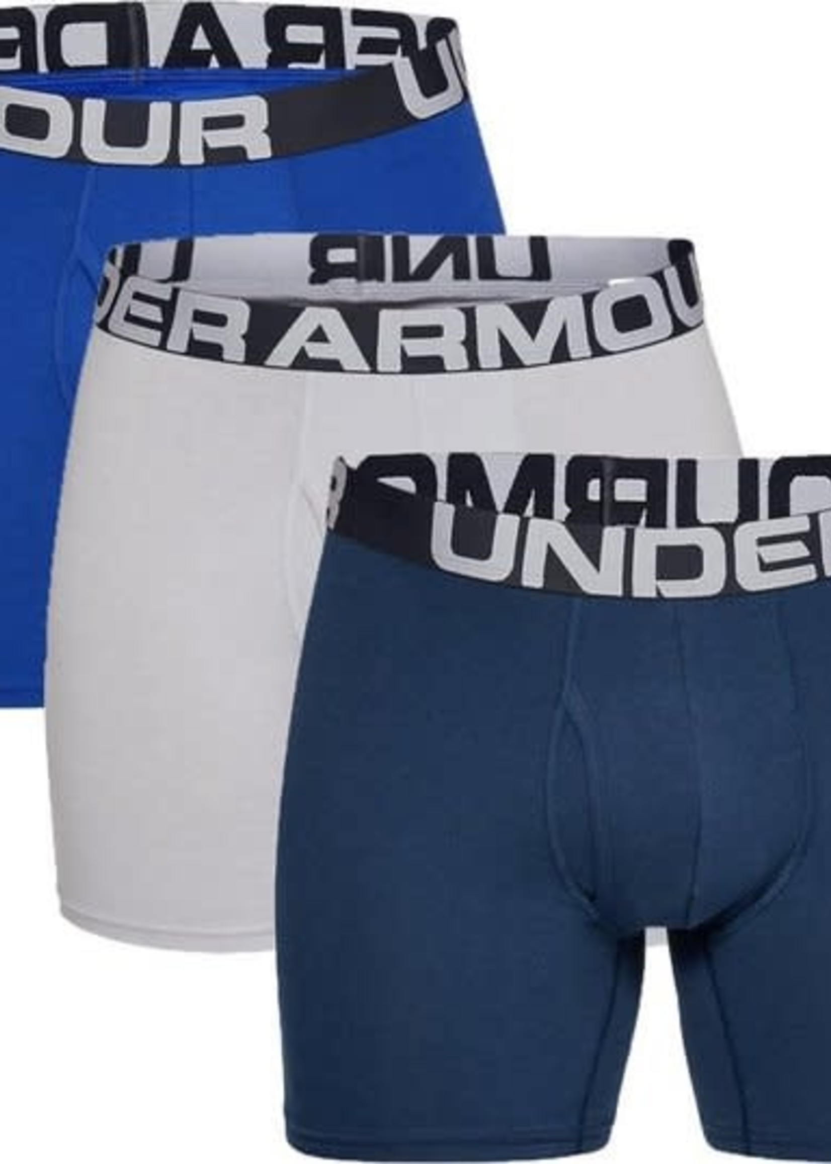 Under Armour Charged Cotton 6in 3 Pack-Royal / Academy / Mod Gray Medium