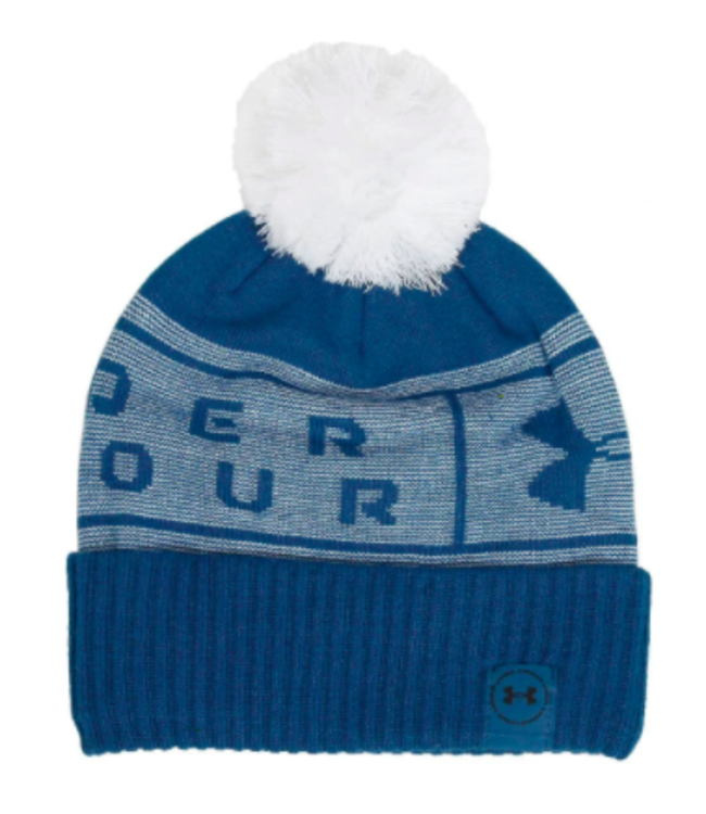 Under Armour UA Big Logo Pom Beanie-Graphite Blue / White / Graphite Blue
