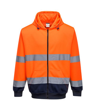 B317 - Tweekleurige Sweatshirt met ritssluiting en capuchon