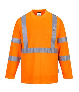 S191 - Hi-Vis T-shirt met lange mouwen en borstzak