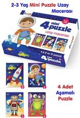 4 Mini Puzzle Uzay Macerası 2-3 Yaş