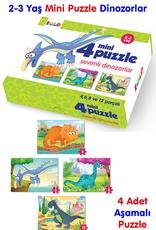 4 Mini Puzzle Sevimli Dinozorlar 2-3 Yaş