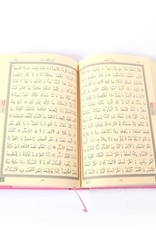 Orta Boy Kur'an-ı Kerim (2 Renkli, Pembe, Mühürlü)