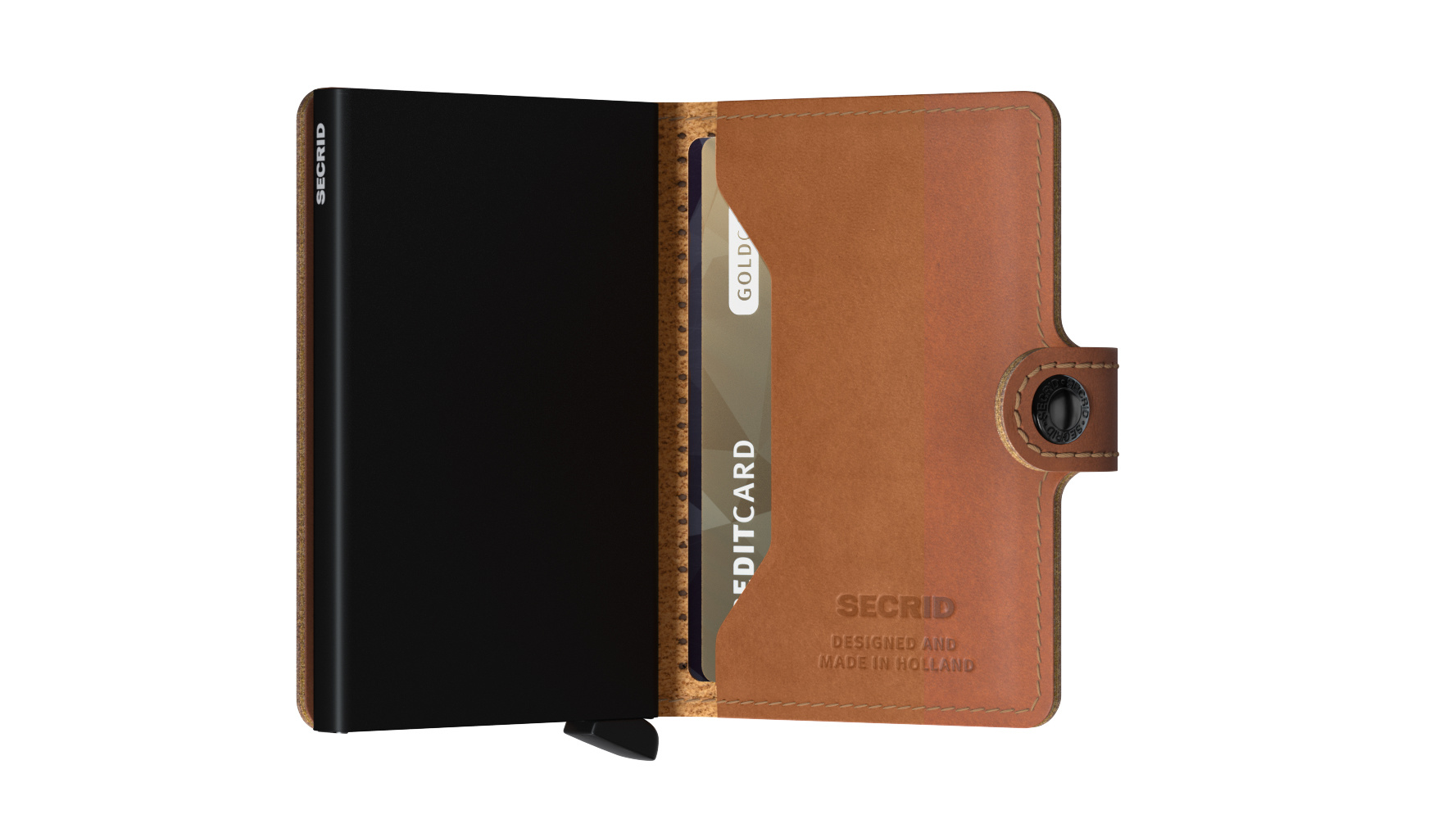 Secrid Portefeuille Secrid Miniwallet Perforated Cognac