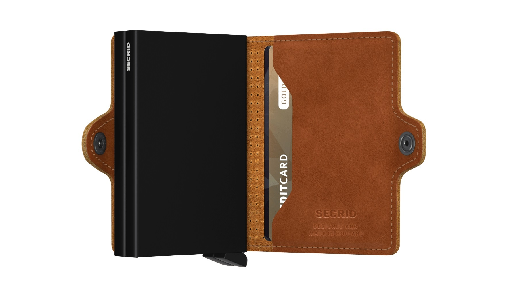 Secrid Portefeuille Secrid Twinwallet Perforated Cognac