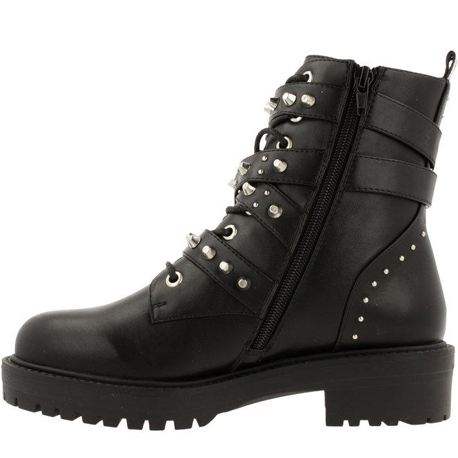 Biker Boots Black with Pearls 031506F6S_BKBKTD