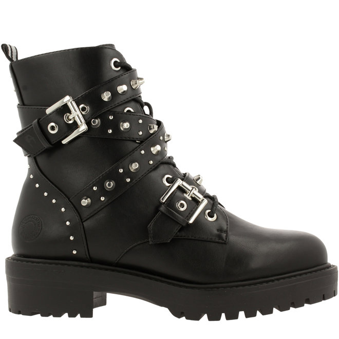 Biker Boots Black with Pearls