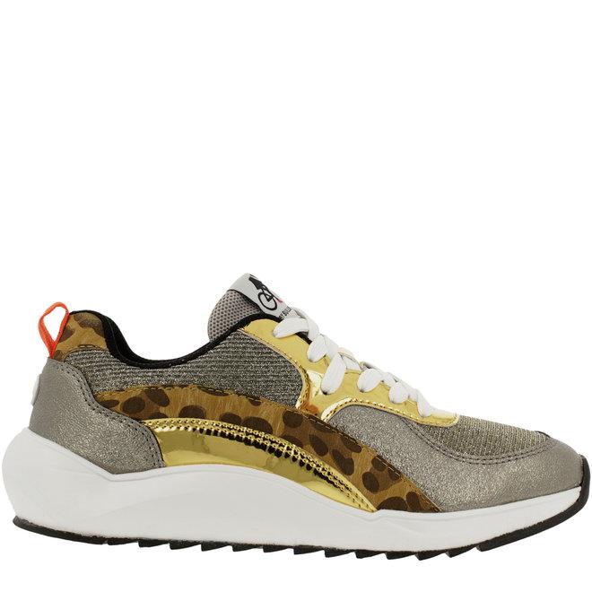 Sneaker Goldfarben mit Schlangenprint