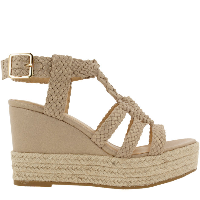 Sandalen mit Keilabsatz Beige