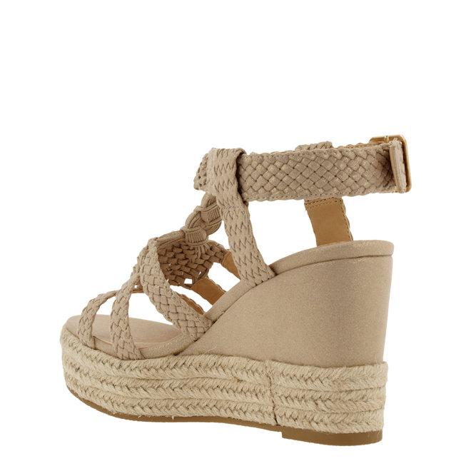 Sandalen mit Keilabsatz Beige 175018F2T_PLTNTD
