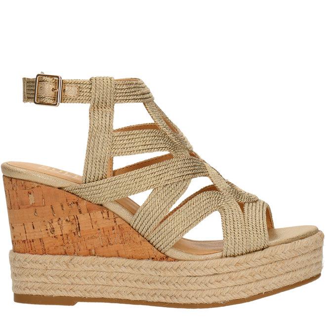Sandalen mit Keilabsatz Goldfarben