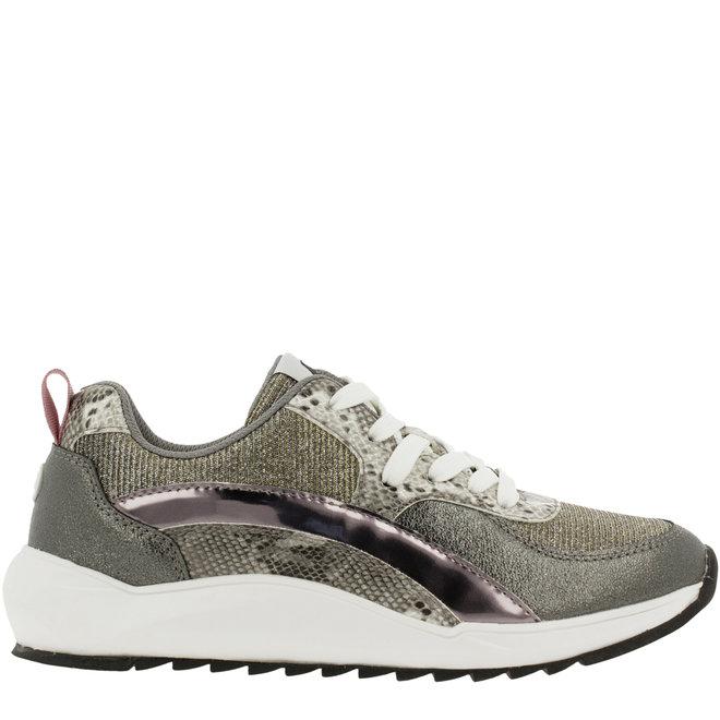 Sneaker Silberfarben mit Schlangenprint 001000F5S_GYSNTD
