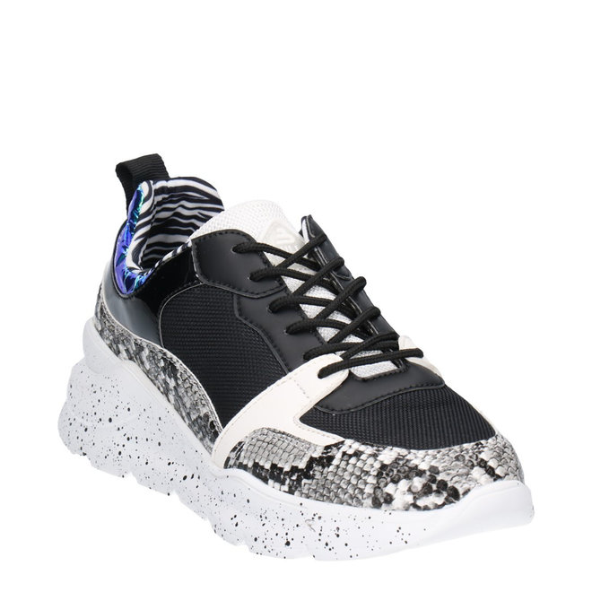 Sneaker Schwarz mit Schlangenprint 141003F5S_BKWHTD