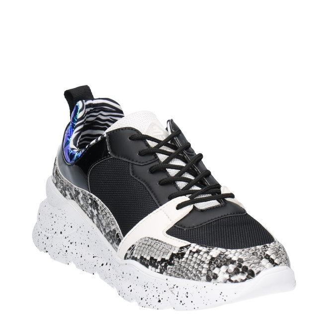 Sneaker Zwart met Slangenprint 141003F5S_BKWHTD