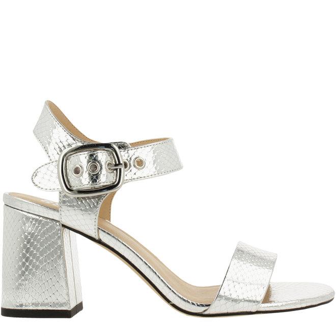 Sandale mit Blockabsatz Silberfarben