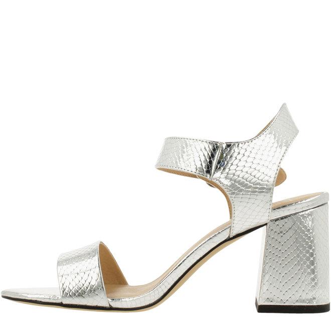 Sandale mit Blockabsatz Silberfarben 041002F2S_SLVRTD