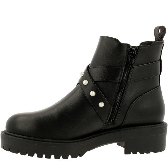Biker Boots Black with Pearls 031517F6S_BLCKTD