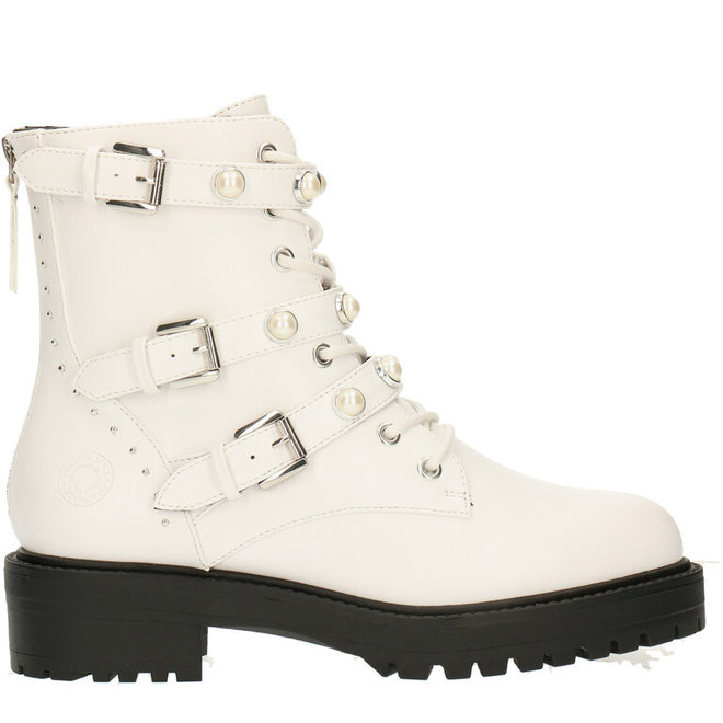 Biker Boots White with Pearls