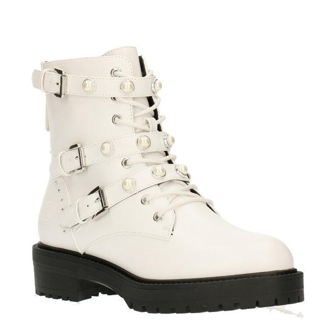 Biker-Boots Weiß  mit Perlen 031500F6S_WHITTD