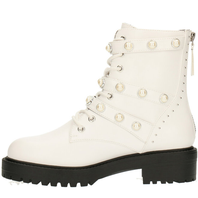 Biker Boots White with Pearls 031500F6S_WHITTD