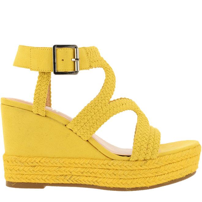 Sandalen mit Keilabsatz Gelb