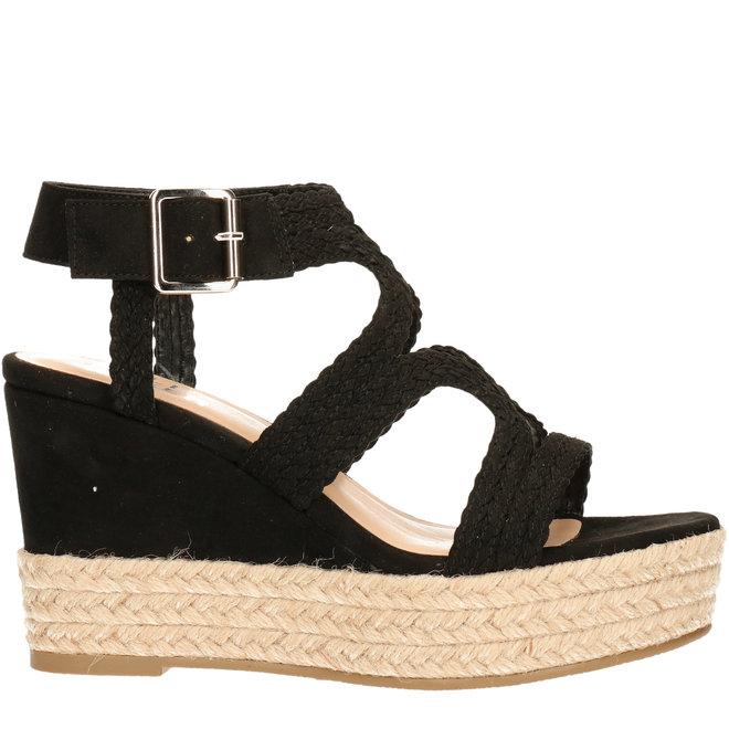 Sandalen mit Keilabsatz Schwarz
