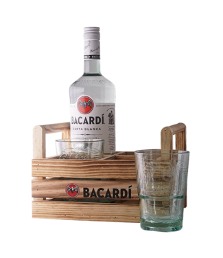 Bacardi Carta Blanca Rum 100cl + 2 Bacardi glasses in Mojitocrate