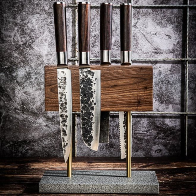 Magnetisch Messenblok met Stenen Voet Walnoot van Style de Vie