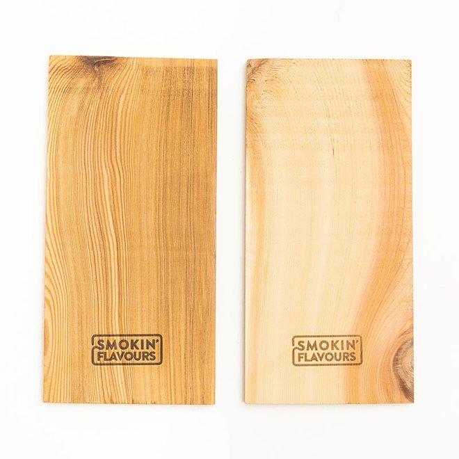 Cederhouten planken 15x30 cm - 2 stuks van Smokin' Flavours