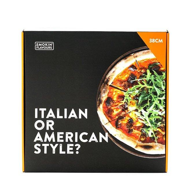 Pizzasteen met houder 38 cm van Smokin' Flavours